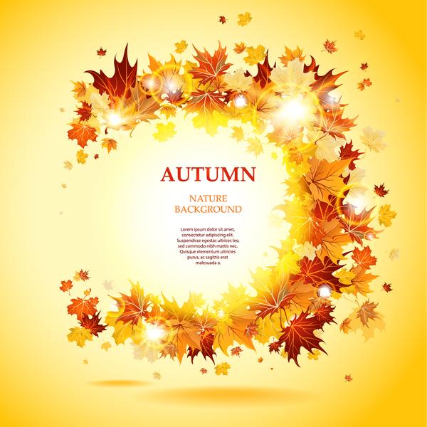 Beautiful autumn nature background vector 01