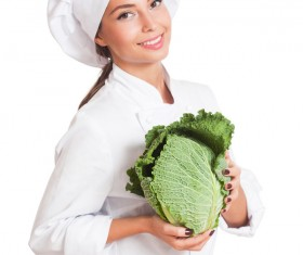 Beautiful female chef holding a cabbage Stock Photo 01