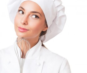 Beautiful female chef holding a whisk Stock Photo 01