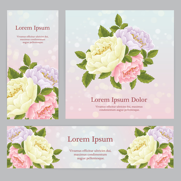 Beautiful flower banner with card template vector