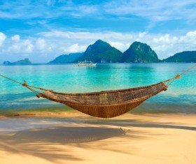 Beautiful seaside scenery and hammock Stock Photo