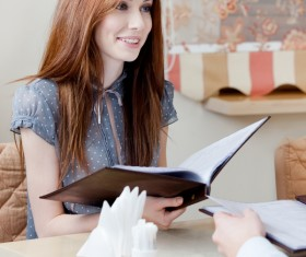 Beautiful woman in cafe order Stock Photo 03