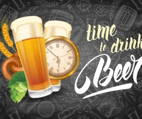 Beer drink with time and blackboard background vector 01