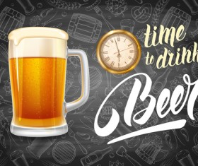 Beer drink with time and blackboard background vector 02