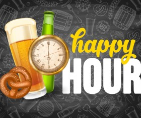 Beer drink with time and blackboard background vector 03