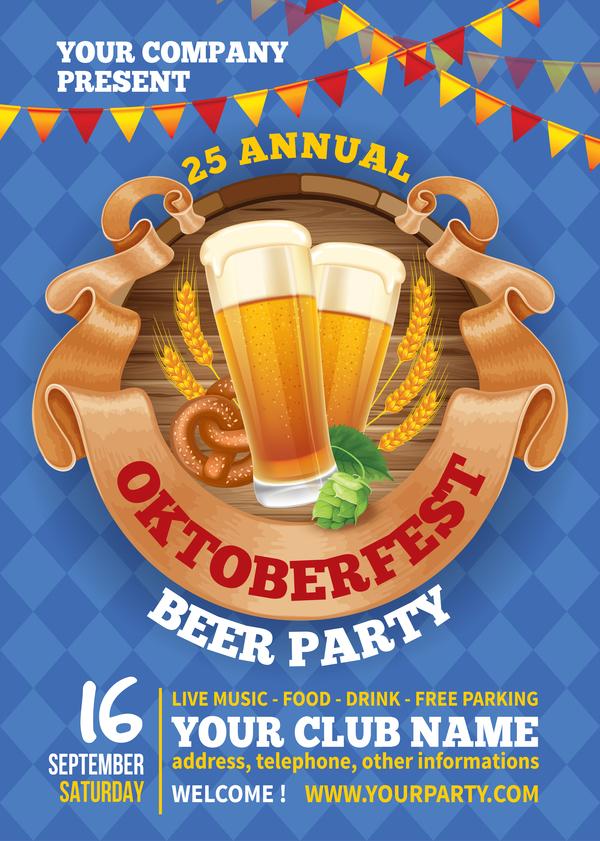 Beer party flyer template vectors 01