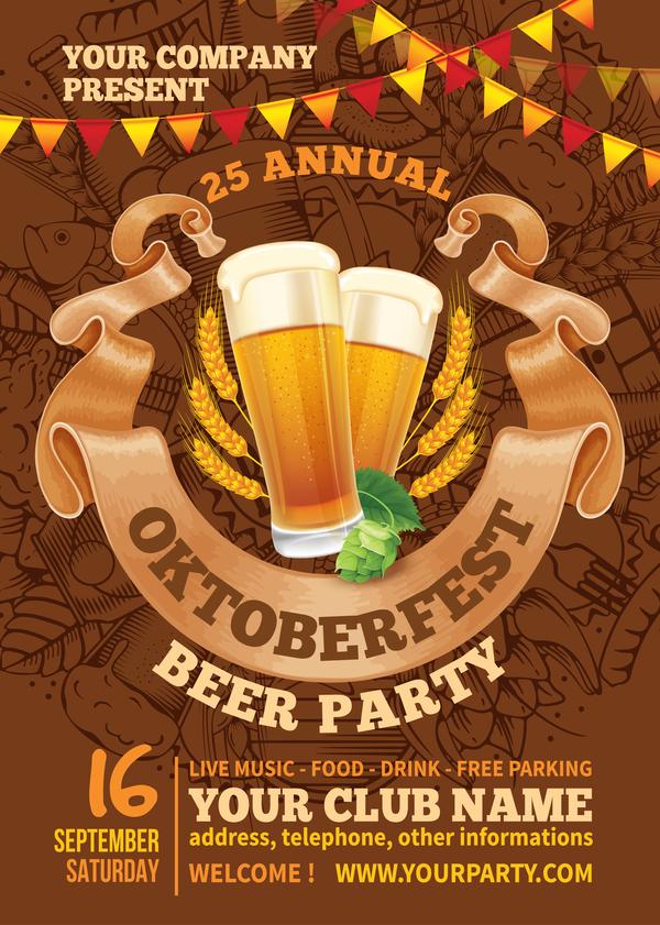 Beer party flyer template vectors 03