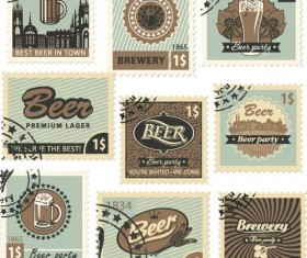Beer postal stamps template vector