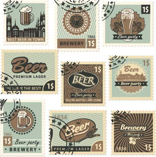 Beer postal stamps template vector