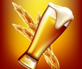 Beer with wheat vector material 01