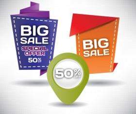 Big sale labels creative design vector