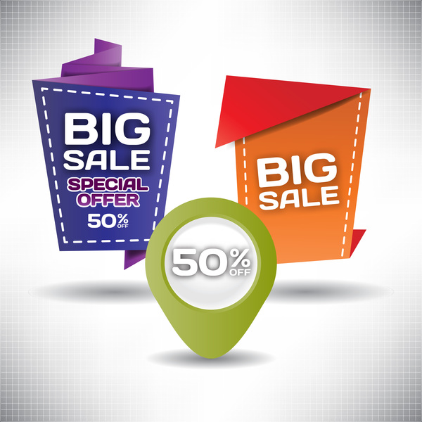 Big sale labels creative design vector