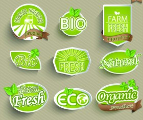 Bio with fresh labels sticker vector set