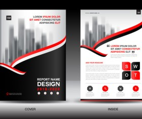 Black with red annual report brochure cover template vector 01