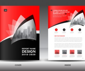 Black with red annual report brochure cover template vector 02