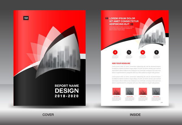 Black With Red Annual Report Brochure Cover Template Vector 02  Annual Report Cover Template