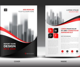 Black with red annual report brochure cover template vector 03