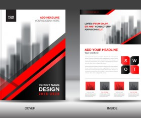 Black with red annual report brochure cover template vector 04