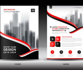 Black with red annual report brochure cover template vector 05
