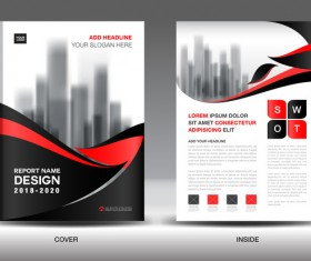 Black with red annual report brochure cover template vector 06