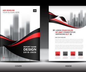 Black with red annual report brochure cover template vector 07