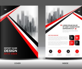 Black with red annual report brochure cover template vector 08