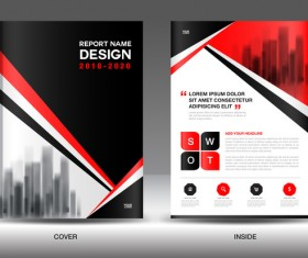 Black with red annual report brochure cover template vector 09