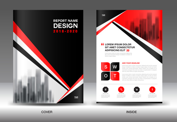 black with red annual report brochure cover template