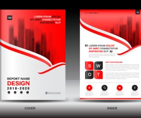 Black with red annual report brochure cover template vector 10