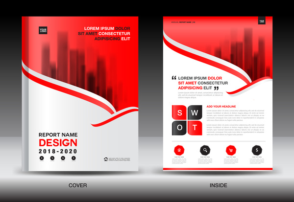 Black with red annual report brochure cover template vector 10 ...