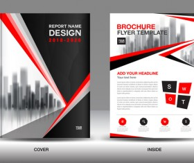 Black with red annual report brochure cover template vector 11