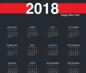 Black with red calendar 2018 template vector design