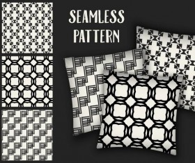 Black with white seamless pattern and mockup vector 01
