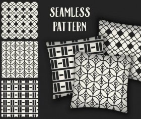 Black with white seamless pattern and mockup vector 02
