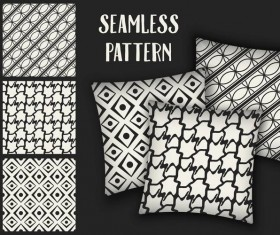 Black with white seamless pattern and mockup vector 03