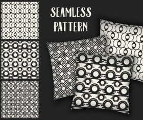 Black with white seamless pattern and mockup vector 04