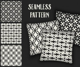 Black with white seamless pattern and mockup vector 05