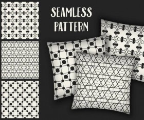 Black with white seamless pattern and mockup vector 06