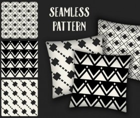 Black with white seamless pattern and mockup vector 07