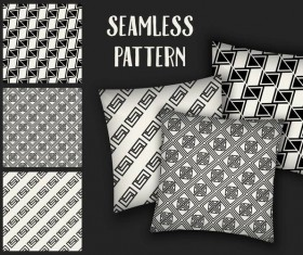 Black with white seamless pattern and mockup vector 09