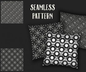 Black with white seamless pattern and mockup vector 10