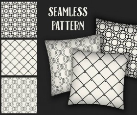 Black with white seamless pattern and mockup vector 11
