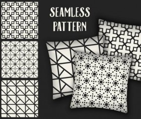 Black with white seamless pattern and mockup vector 12