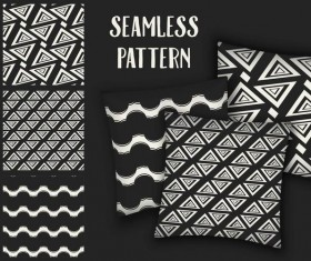 Black with white seamless pattern and mockup vector 13