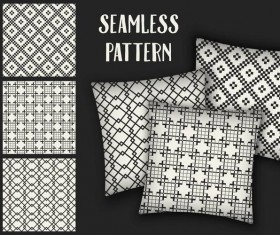 Black with white seamless pattern and mockup vector 14