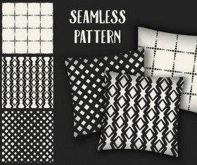 Black with white seamless pattern and mockup vector 15