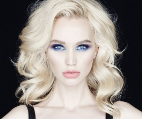 Blonde blue-eyed beautiful woman Stock Photo 01