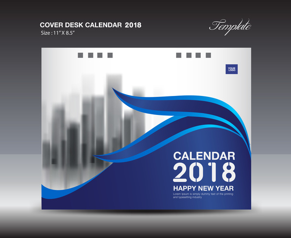 Calendar Cover Page Design : Blue cover desk calendar template vector material