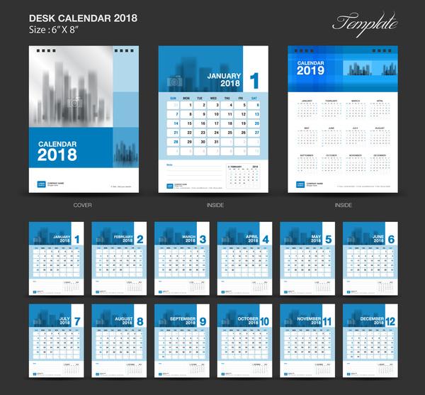 blue desk calendar 2018 vector template vector calendar free download. Black Bedroom Furniture Sets. Home Design Ideas
