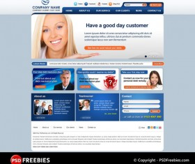 Blue Template for Corporate Website PSD
